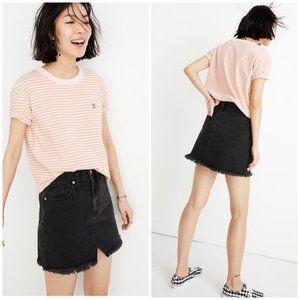 MADEWELL Ridgid Black Denim Raw Hem Mini Skirt